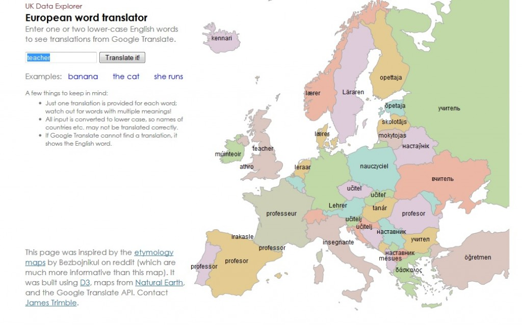 dan pink shared this cool translator map on twitter it uses google translate to translate english into any major european language and then shows the word