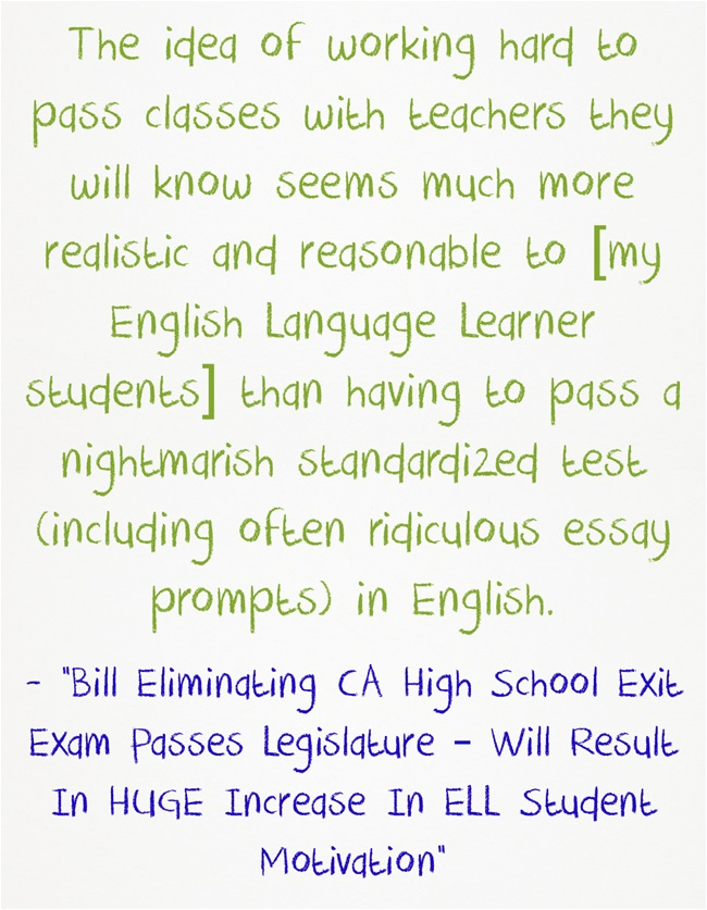 california high school exit exam persuasive essay Information about the california high school exit examination (cahsee) requirement senate bill 172 suspends the cahsee requirement through the 2017-18 school year.