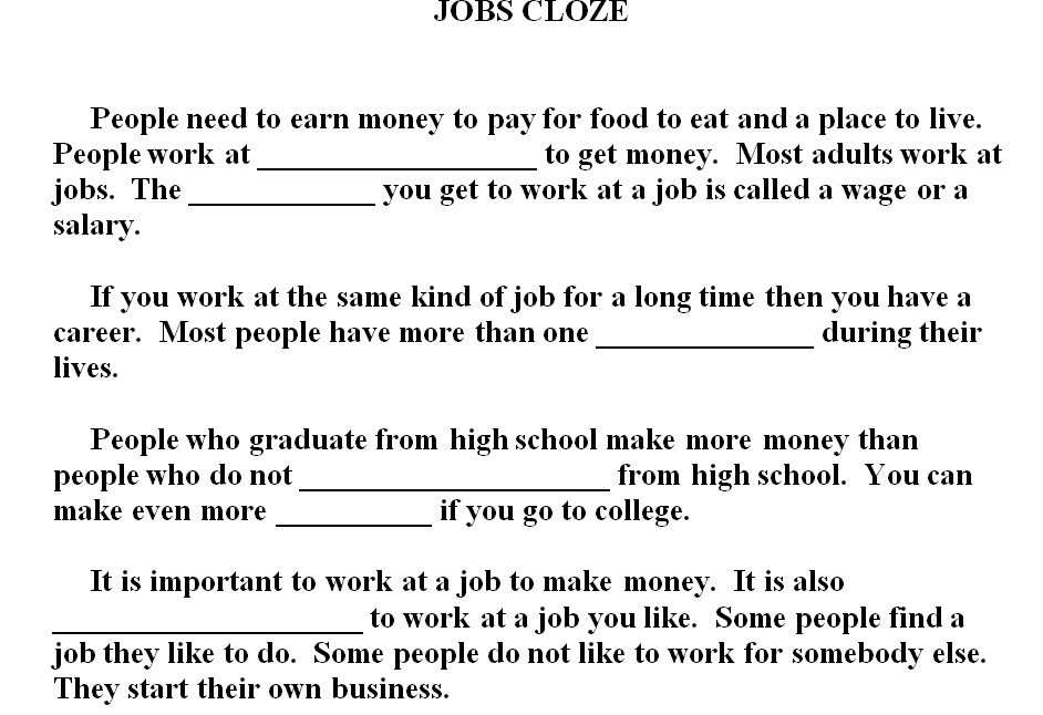 jobs cloze