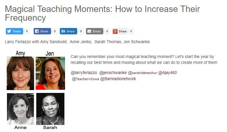 "My Latest BAM! Radio Show Is On Our ""Best"" Teaching Moments 