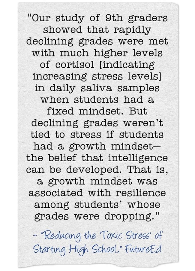 New Study Shows Learning About Growth Mindset At Start Of Ninth-Grade Increases Resilience