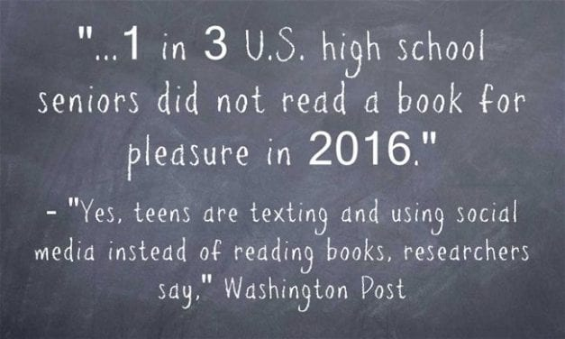 "Statistic Of The Day: ""1 in 3 U.S. high school seniors did not read a book for pleasure in 2016"""