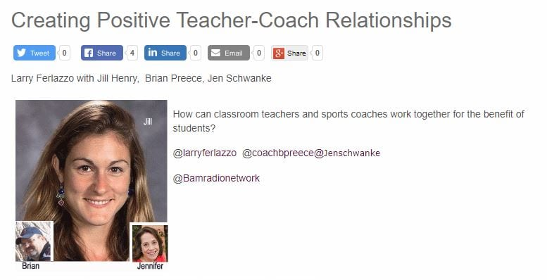 My Latest BAM! Radio Show Is On Building Positive Relationships Between Teachers & Athletic Coaches