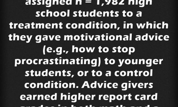 Another Study Finds That Student Mentors Giving Advice Helps THEM Do Better