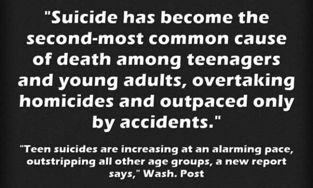 Terrible Statistic Of The Day – Suicides Increase Among Teens