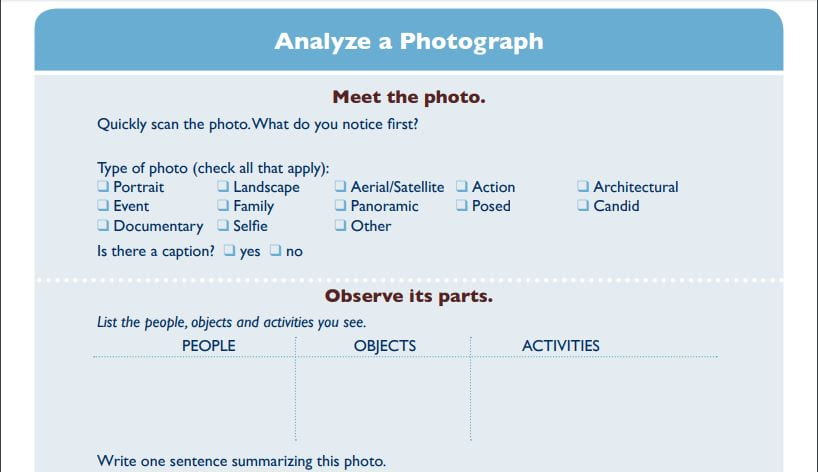 A Look Back: Goldmine Of Printables For Primary Source Analysis, Including Versions For ELLs