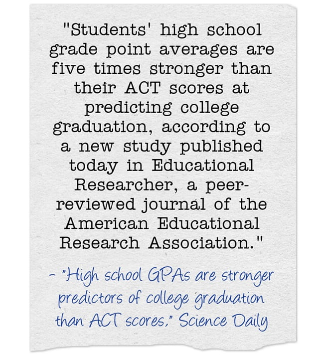 Study Finds GPA Is Better Indicator Of College Success Than ACT Score