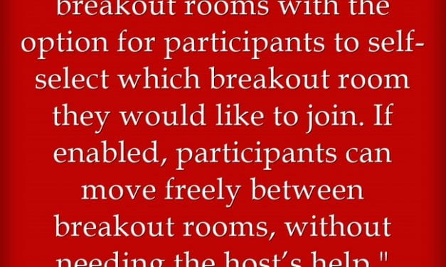 On Sept. 21st, Zoom Implements A Feature To Allow People To Choose Their Own Breakout Rooms