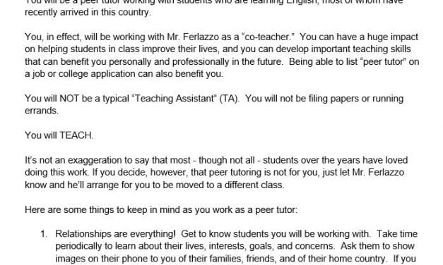 Here Are The Guidelines I'm Giving Peer Tutors In My ELL Classes This Year